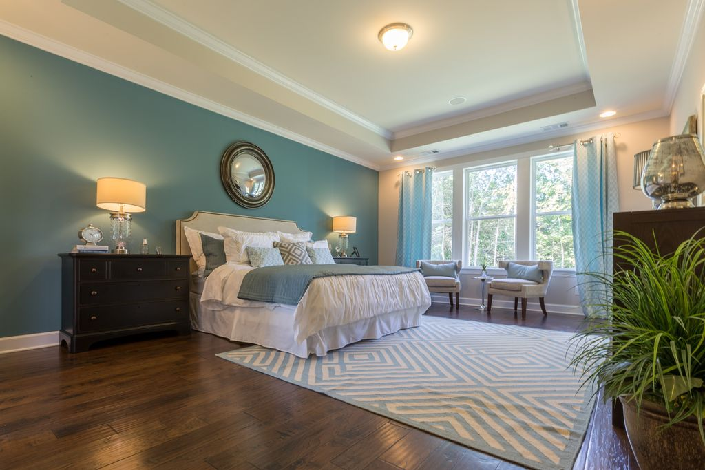 Master bedroom with crown molding high ceiling in for Bedroom furniture 37027