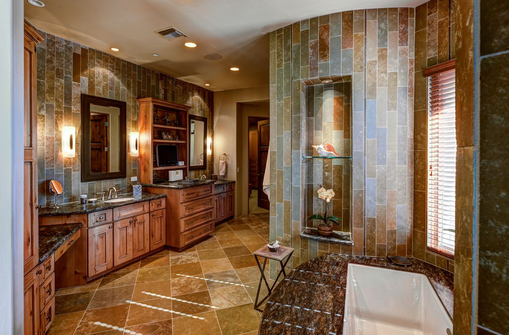 Contemporary master bathroom with double sink stone tile for Master bathroom granite