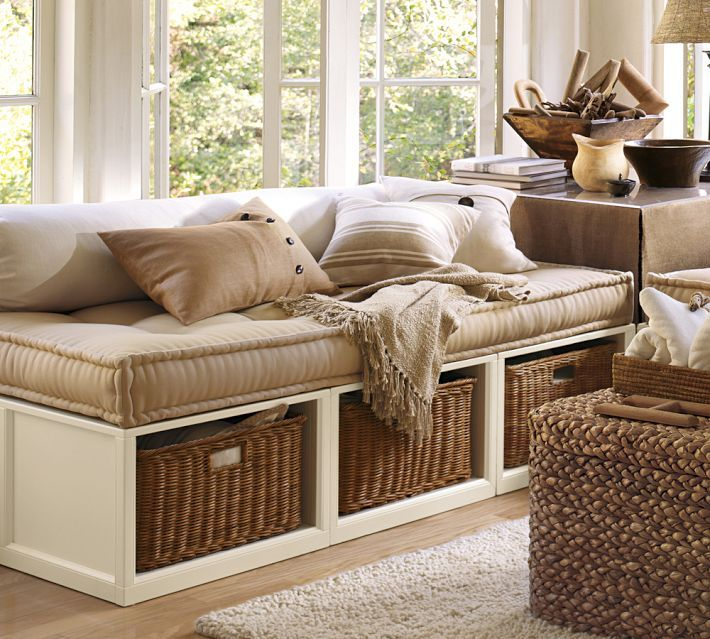 Cottage Living Room With Stratton Storage Platform Daybed Baskets Dalton Shag Rug