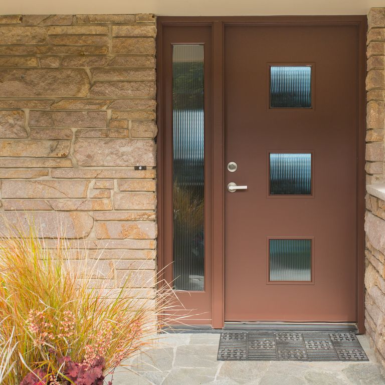 modern front door with glass panel door by august bergdahl