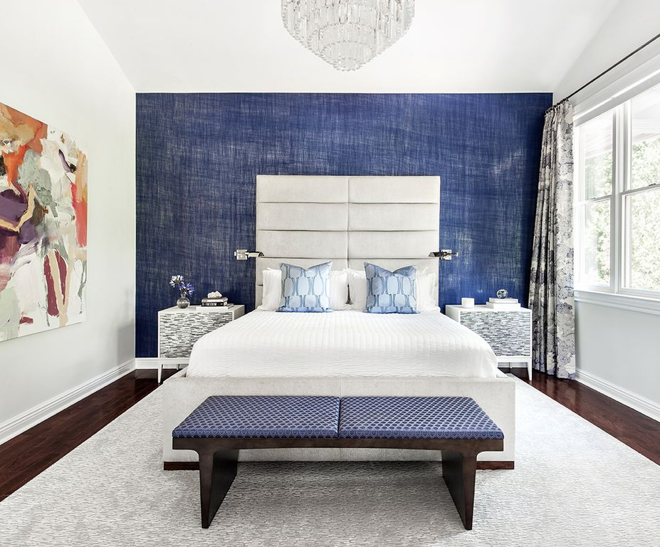 contemporary master bedroom with custom curtains in edith violet fabric by donghia chandelier milano