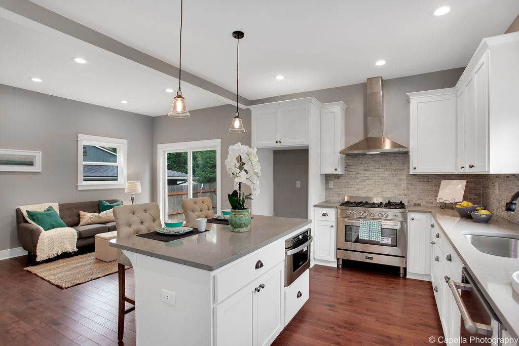 Transitional Kitchen With Flush Light, Silestone 2 In. Quartz Countertop  Sample In Marengo,