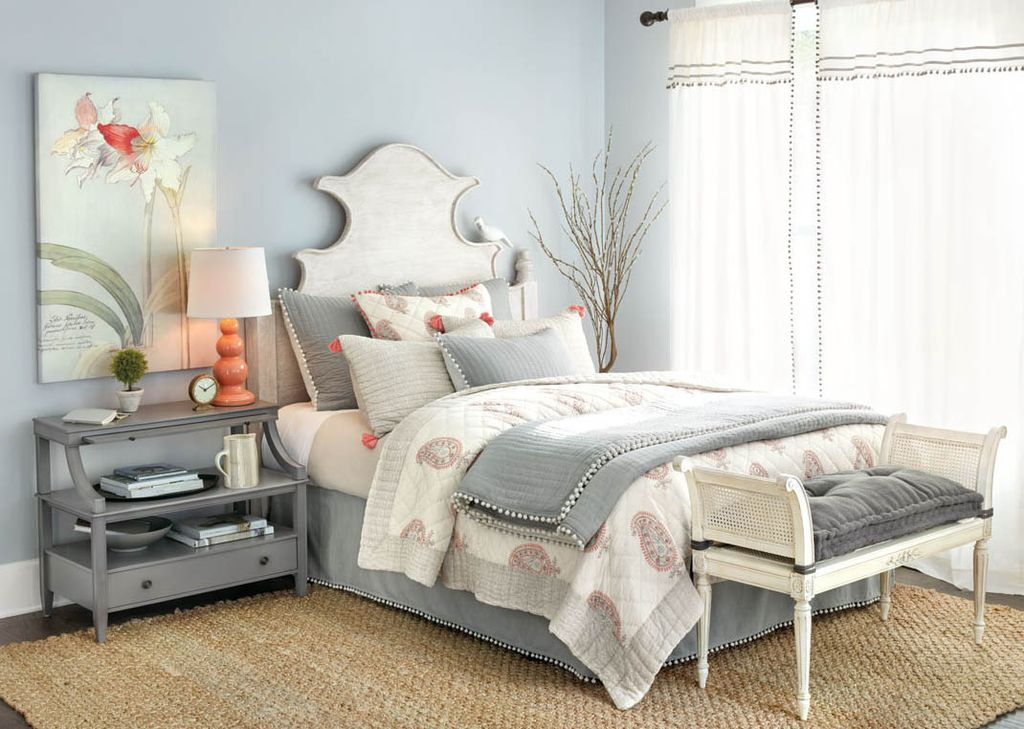 contemporary master bedroom with amaryllis frost art astaire clocks audree pom pom drapery panels - Contemporary Master Bedroom Design