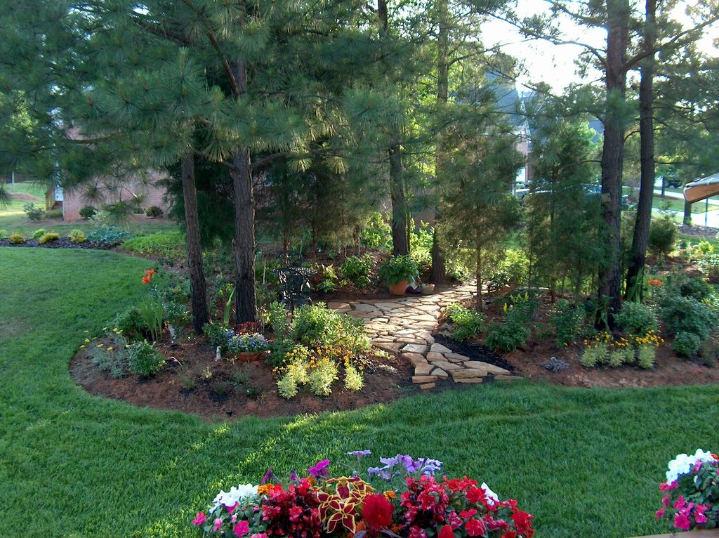 Traditional landscape and yard with pathway exterior for Landscaping rocks charlotte nc