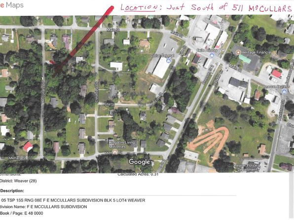 null bed null bath Vacant Land at  McCullar Ln Weaver, AL, 36277 is for sale at 4k - google static map