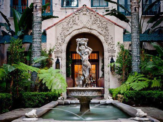 Historic Los Altos Apartments Courtyard Fountain