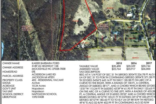 0 bed null bath Vacant Land at  Elderberry Ln Jackson, MI, 49201 is for sale at 65k - google static map