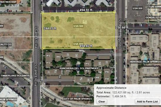null bed null bath Vacant Land at 0 Calle Encillia Palm Springs, CA, 92262 is for sale at 200k - google static map