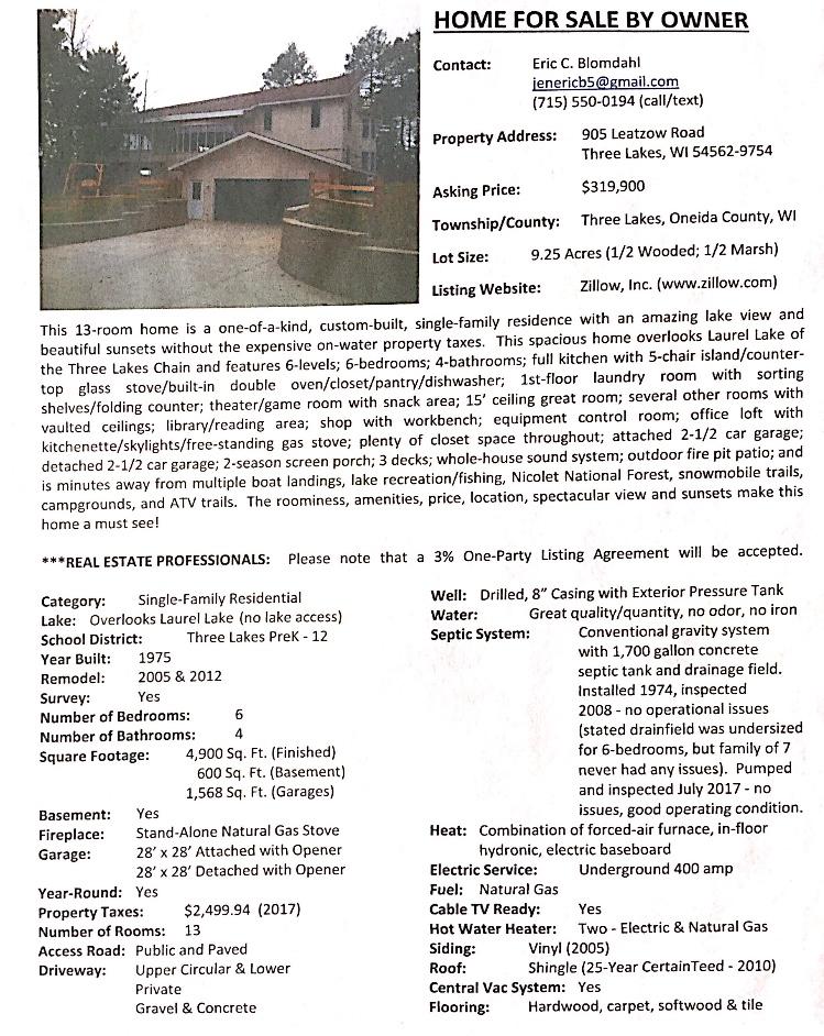 1798 Koubenec Rd Three Lakes Wi 54562 Realestate